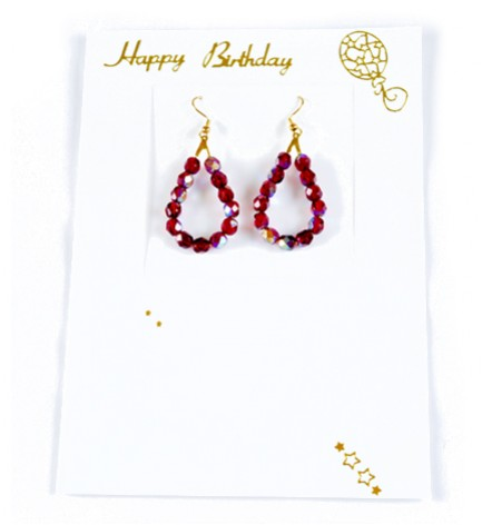 Adzo Jewellery Card-Birthday red glass bead hanging earring insert