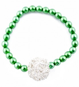 Adzo green pearl bead and silver mesh pendant