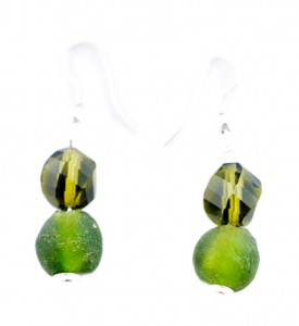 Adzo olive Czech glass and Ghana bead earrings