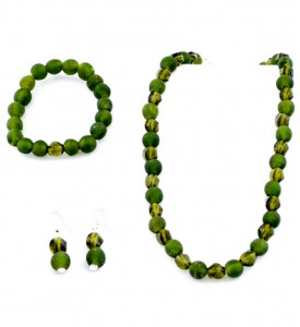 Adzo olive Czech glass and Ghana bead set