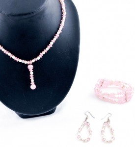 Adzo pink bead and pearl bead mix set