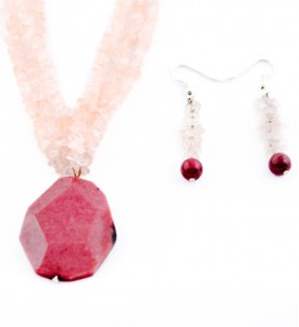 Rhodonite and rose quartz necklace and earring set
