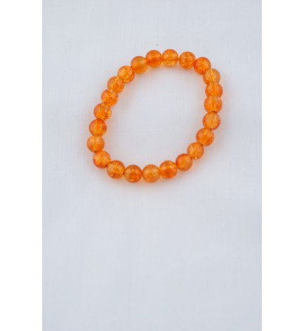 Adzo Designs Amber orange colour crackle glass beads on stretch