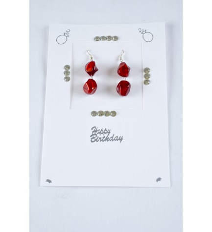 Adzo jewellery card with double red drop earrings with silver plated finish