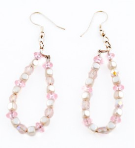 Pink Czech glass and pearl earrings