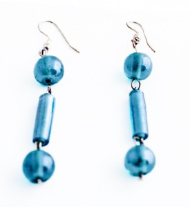 Turquoise colour Indian glass bead drop earrings