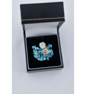 Adzo Designs cocktail ring with a medley of turquoise and clear Swarovski crystal stones. Size large